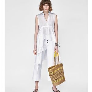 Zara white asymmetrical tunic size XS